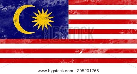 Flag of Malaysia by watercolor paint brush grunge style