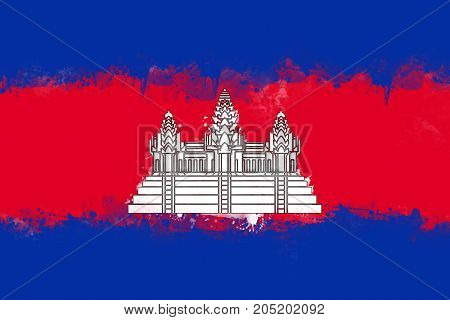 Flag of Cambodia by watercolor paint brush grunge style