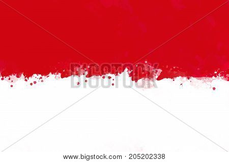 Flag of Indonesia by watercolor paint brush grunge style