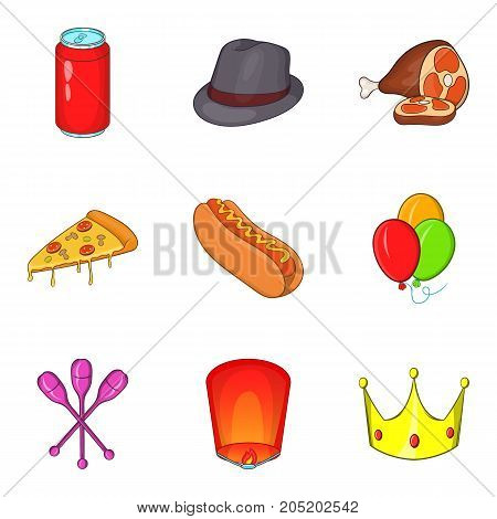 Takeaway food icons set. Cartoon set of 9 takeaway food vector icons for web isolated on white background