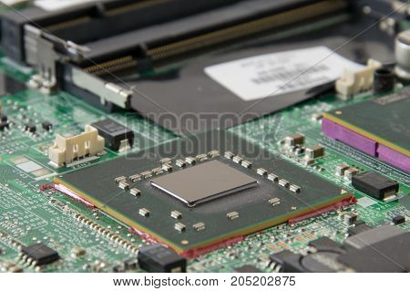 Macro Picture Of Graphics Processing Unit (gpu) On Pcb Board