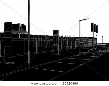 Car And Yacht Dealership Building Vector