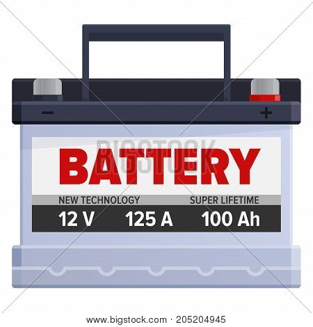 Big powerful portable battery for cars and electric devices that require lot of energy charge isolated on white background. Capacious energy container for long term usage vector illustration.