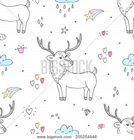 Cute hand drawn Vector pattern with deer. Printable templates