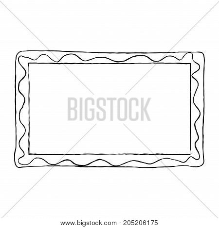 Hand-drawn frame black and white with wavy line graphic design. Vector illustration of memory border isolated on whitey.