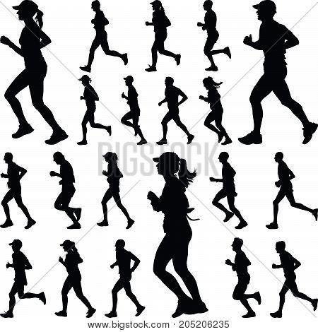 twenty man and woman runners silhouette vector