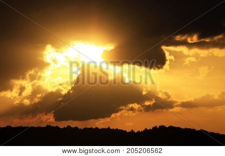 Yellow and black heaven, sunset sky light