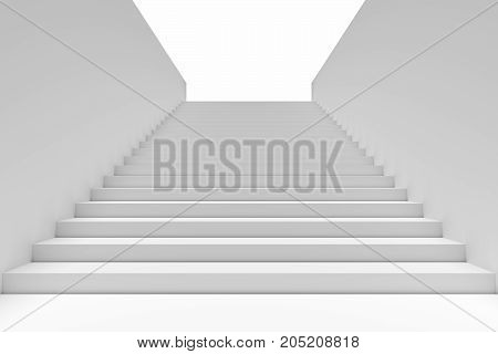 Long staircase with white stairs and walls in underground passage going up to the light 3d illustration
