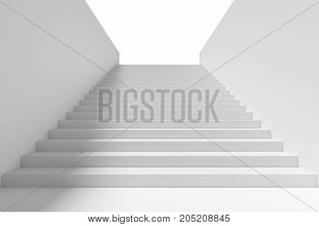 Long staircase with white stairs and walls and shadow from light in underground passage going up to the light 3d illustration