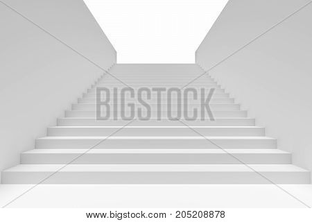 Long staircase with white stairs and walls in underground passage going upward 3d illustration