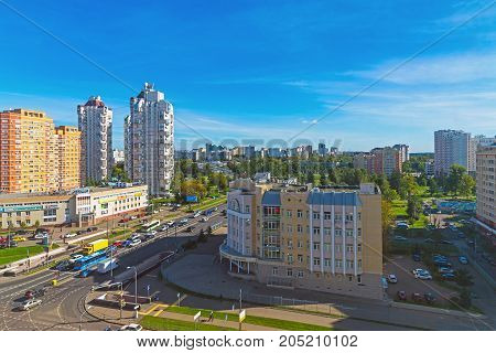 Moscow, Russia - September 20. 2017. view street Panfilov Avenue in the city of Zelenograd