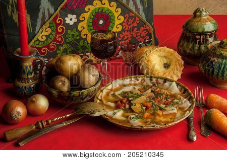 A Dish Of Dough And Vegetables