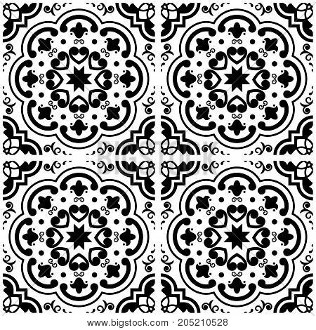 Azulejos Portuguese tile floor pattern, Lisbon seamless black and white tiles, vintage geometric ceramic design, Spanish vector background