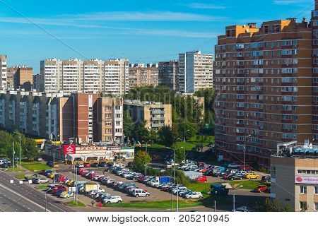 Moscow, Russia - September 20. 2017. residential buildings and parking in a Zelenograd administrative district