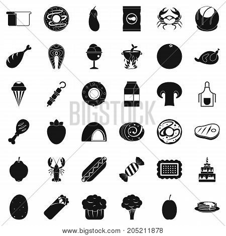 Favorite food icons set. Simple style of 36 favorite food vector icons for web isolated on white background