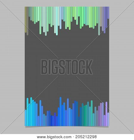 Colored brochure template - blank vector stationery, document design with vertical stripes on dark grey background