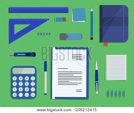 Blue stationery on a green background. Top view of a desk. There is a calculator, a folder, a diary, a ruler, a stationery knife, a marker and other objects in the picture. Vector flat illustration