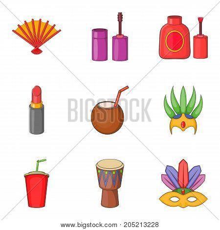 Brazilian carnival icons set. Cartoon set of 9 brazilian carnival vector icons for web isolated on white background