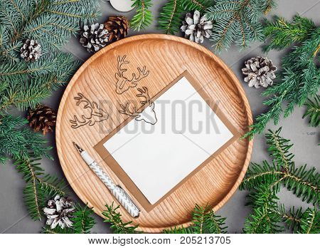 Christmas Card Mock-up On Wooden Plate With Fir Branches