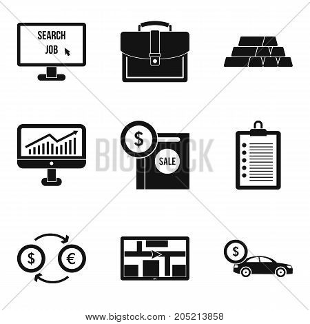 Expensive purchase icons set. Simple set of 9 expensive purchase vector icons for web isolated on white background
