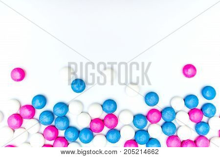 Colored chocolate coated candy. Isolated on white background. Copy space