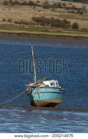photo study of a small boat on a sandbank