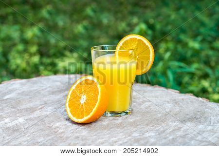The one glasses of fresh orange juice with oranges fruit on a wooden stump outdoors. Green background