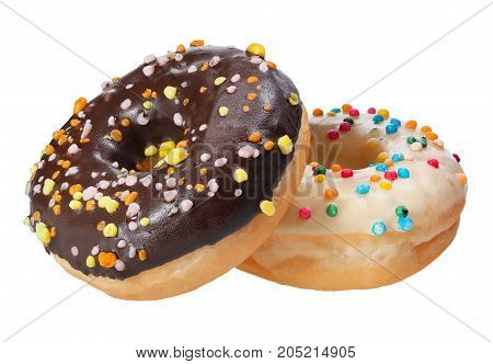 Donut with colorful sprinkles isolated on white background.