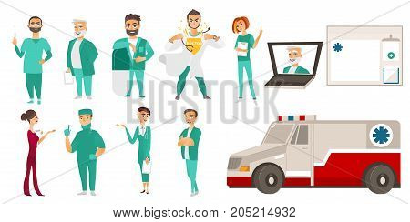 Big set of doctors, therapists, ambulance and laptop with online help service form, medical staff, flat cartoon vector illustration isolated on white background. Flat cartoon doctor. medical staff set