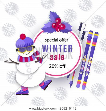 vector winter sale poster template. Winter active sport symbols - Snowman in mountain ski boots goggles and ski with sticks. Decorated flyer Illustration on white background. Banner advertising design