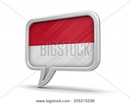 3d Illustration. Speech bubble with Indonesian flag. Image with clipping path