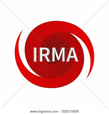 Graphic symbol of hurricane Irma. Icon, sign, indication of the hurricane, vortex, tornado