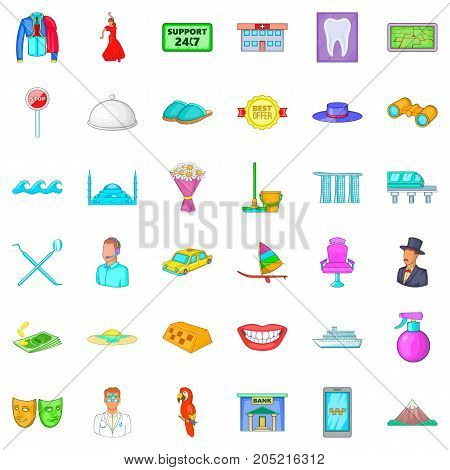 Support icons set. Cartoon style of 36 support vector icons for web isolated on white background