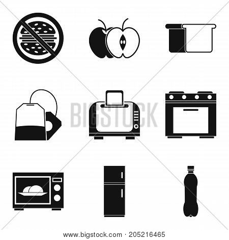 Kitchen furnace icons set. Simple set of 9 kitchen furnace vector icons for web isolated on white background