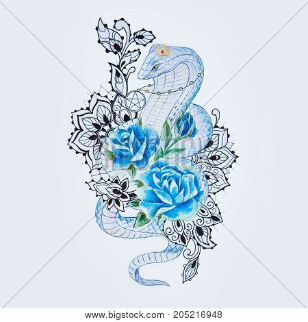 Sketch of snake cobra with blue flowers on white background.