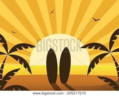 Beach sunset background with surf boards. Flat vector.
