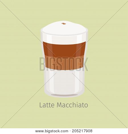 Glass cup with layered latte macchiato flat vector. Hot invigorating drink with caffeine. Espresso based coffee with steamed milk and froth illustration for coffee house and cafe menus design
