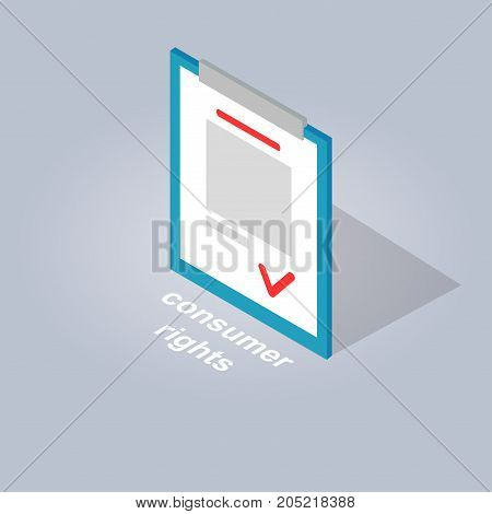 Consumer rights for safe and convenient online shopping. Big document with sign on stand isolated on grey background. Agreement between seller and buyer. E commerce advertising vector illustration.