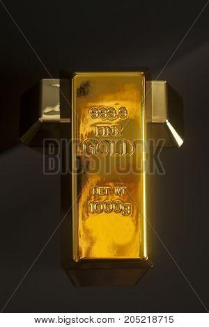 Gold bullion on a black background .
