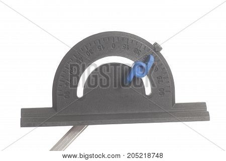 Black protractor isolated on white background .