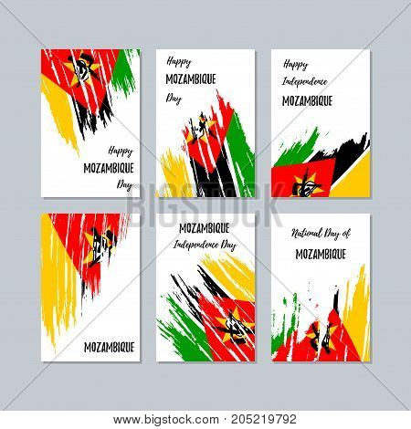 Mozambique Patriotic Cards For National Day. Expressive Brush Stroke In National Flag Colors On Whit