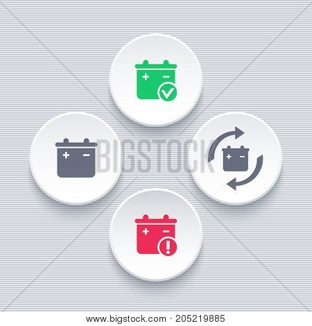 Battery icons on round shapes, battery replacement, warning sign