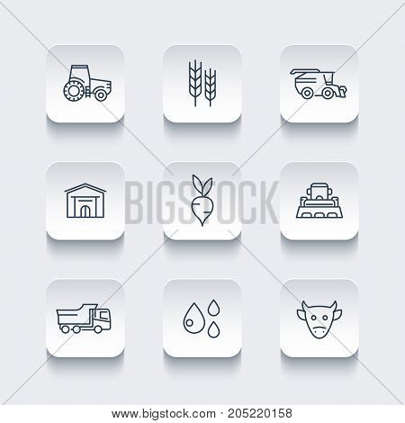 Agriculture, farming line icons, tractor, agrimotor, harvest, barn, cattle, agricultural machinery, vector illustration
