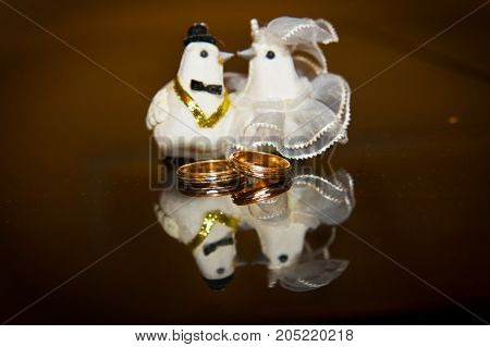Wedding Engagement Ring, And A Rag Doves The Bride And Groom.