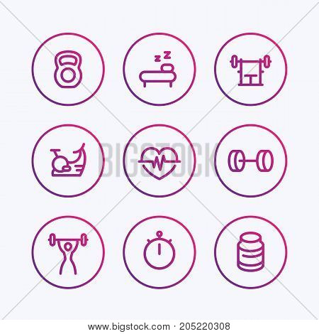 Fitness line icons, thick outline, fit and active lifestyle, workout, training, fitness linear symbols, vector illustration