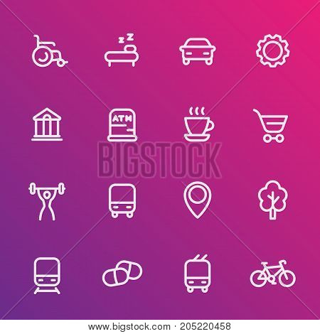 line icons set for map legend, signatures, signs for city map, vector illustration