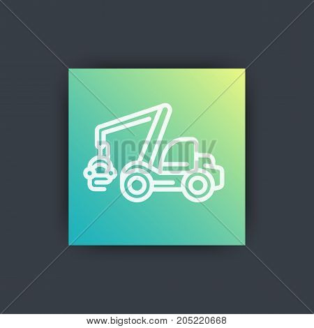 Forest harvester icon, timber harvesting machine, wheeled feller buncher, line icon, vector illustration