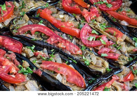 Stuffed eggplants with onions, otherwise called imam bayildi, a traditional dish of Greece Turkey and other Middle East countries