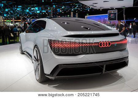 FRANKFURT GERMANY - SEP 12 2017: Audi Aicon autonomous electric concept car showcased at the Frankfurt IAA Motor Show 2017.