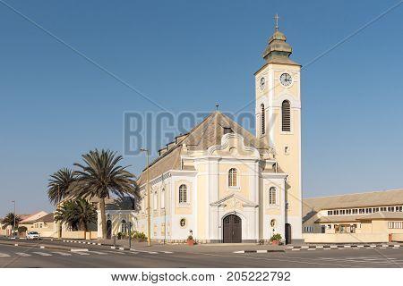 SWAKOPMUND NAMIBIA - JUNE 30 2017: The German Evangelical Lutheran Church in Swakopmund in the Namib Desert on the Atlantic Coast of Namibia